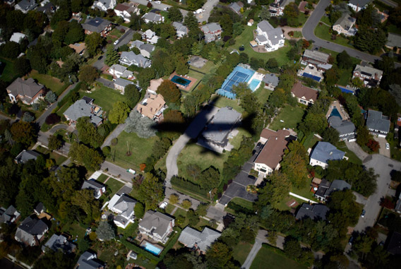 Air Force One flies over suburban Long Island as U.S. President