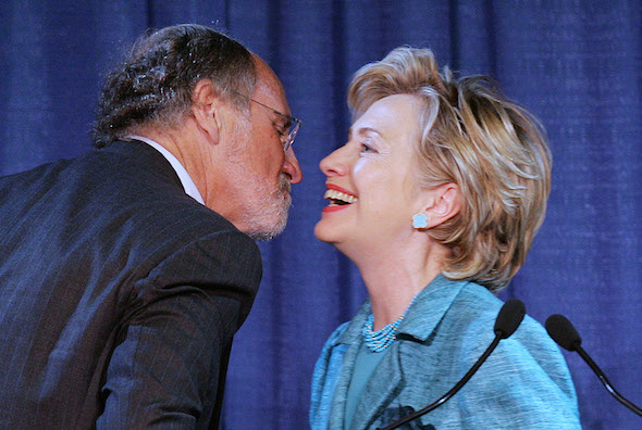 New Jersey Gov. Jon S. Corzine greets Democratic presidential hopeful Sen. Hillary Rodham Clinton, D-NY, after she addressed the New Jersey democratic state committee's annual conference Friday, Sept. 7, 2007 in Atlantic City. (AP Photo/Mel Evans)